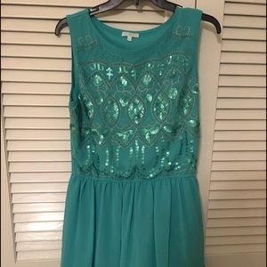 Francesca's teal chiffon dress, size large